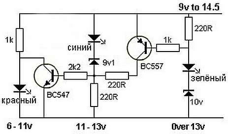 Индикатор заряда аккумулятора схема