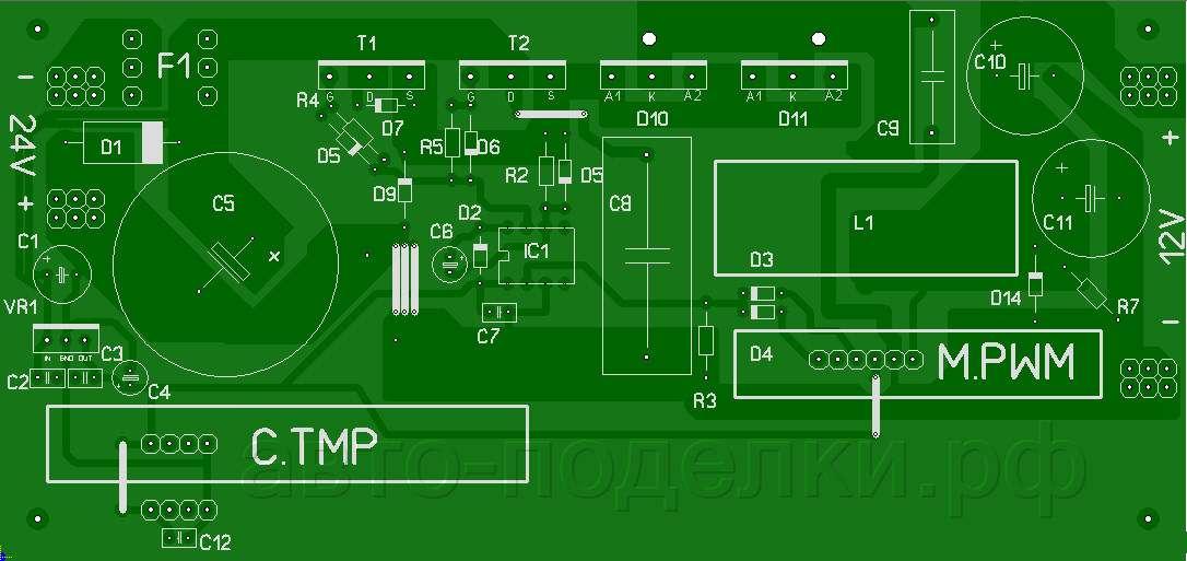 Импульсный инвертор 24V-12V
