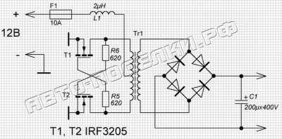 Автомобильный инвертор 12-220 50 ватт схема