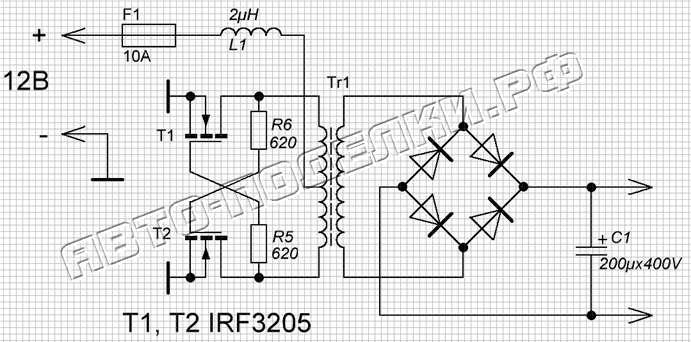Автомобильный инвертор 12-220