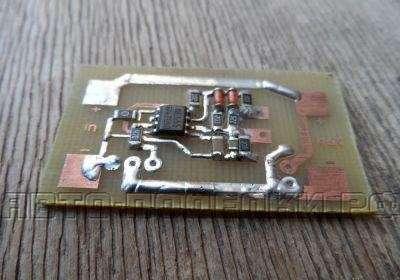 чтобы транзистор и диоды корректно располагались за пределами платы