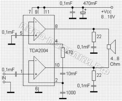 схема на основе микросхемы TDA2004