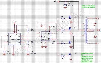 Инвертор 12В – 110В/220В мощностью 500Вт