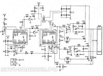 Трансформатор для мощного автомобильного инвертора схема