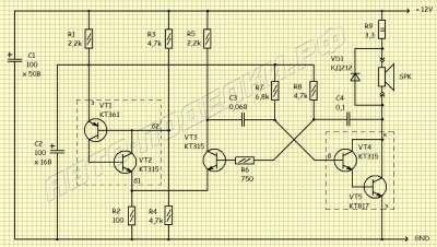 Мощная сирена на транзисторах схема