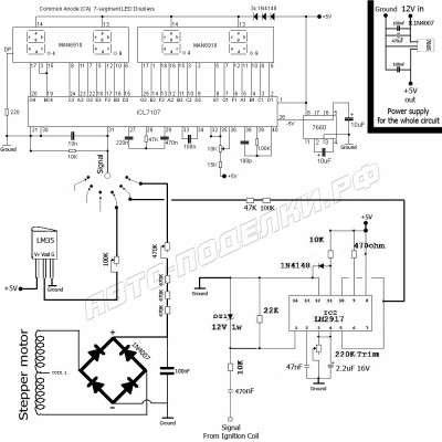 Цифровой спидометр, тахометр и индикатор температуры двигателя.