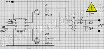 Автомобильный инвертор (12-220 В) схема