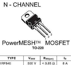 VT1-транзистор(IRF840), кол. 1,
