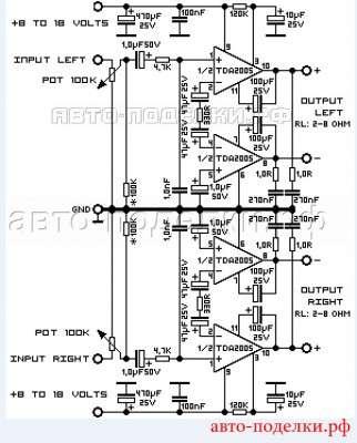 Стерео усилитель с мощностью 20Вт на TDA2005