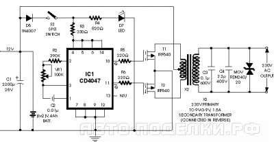 Простой инвертор (12В -230В, 100Вт) на CD4047 и RF540