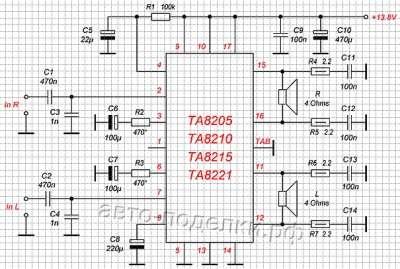 Схема стереоусилителя на базе микросхем серии TA8205