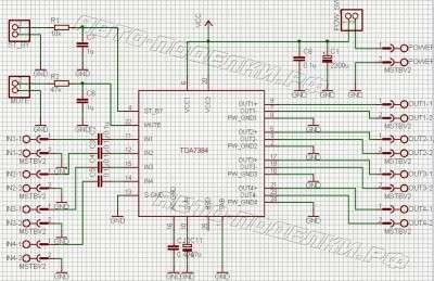аудио усилитель 4х22Вт на TDA7384 схема