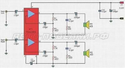 Cтерео усилитель (2 х 10 Вт) на микросхеме TDA2009 схема
