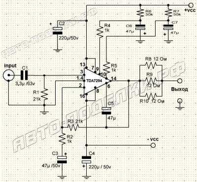 Стерео усилитель мощностью 100Вт на TDA7294
