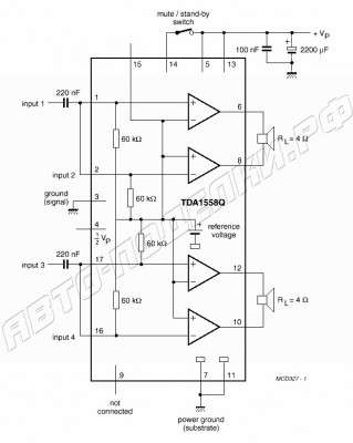 Усилитель на ТДА 1558 в автомобиль схема
