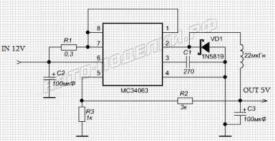 Преобразователь 12-5 Вольт для зарядки телефонов от прикуривателя схема